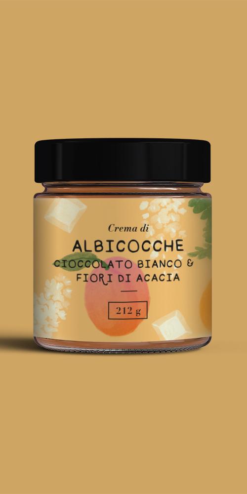 Crema di Albicocche, cioccolato bianco e fiori di acacia